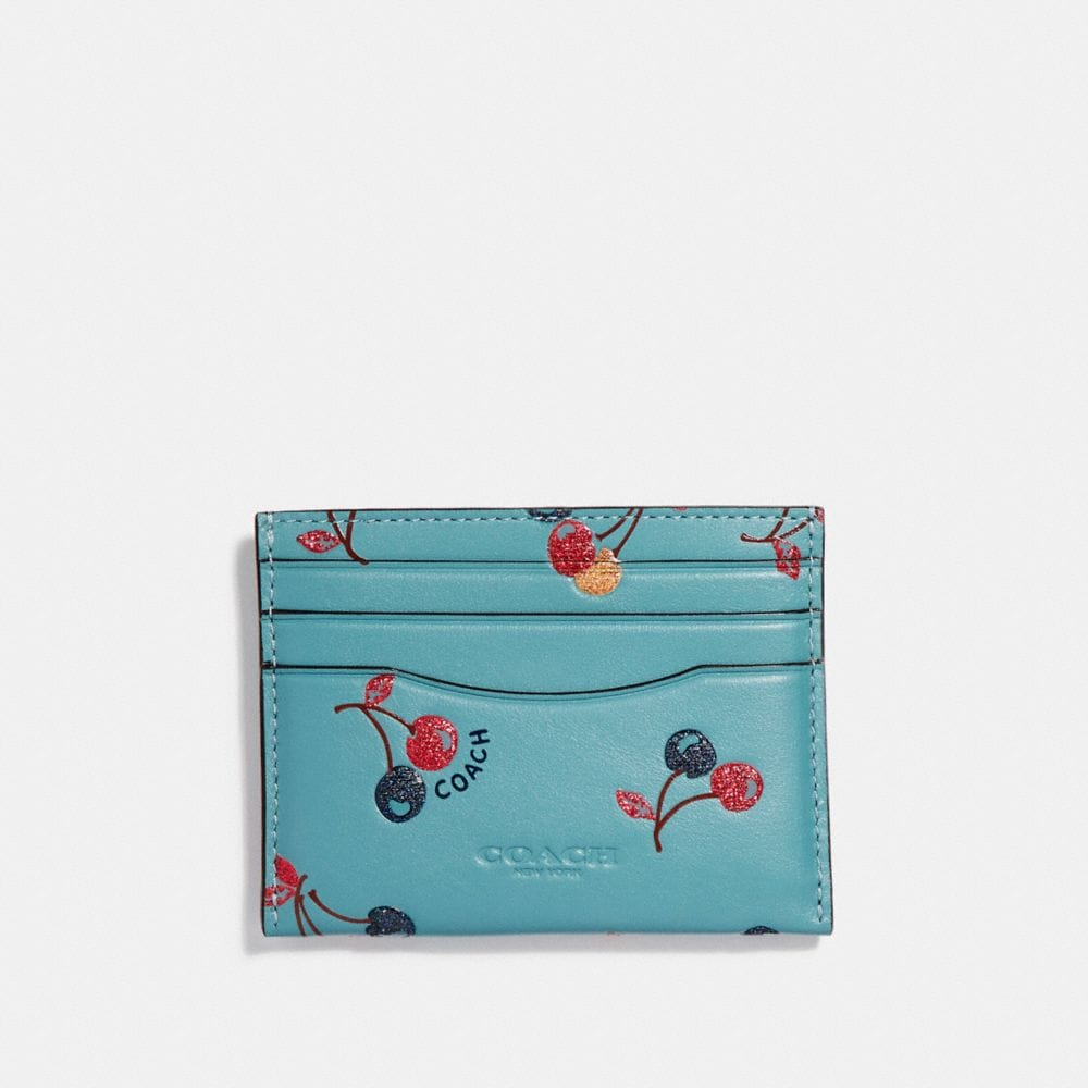 Coach Flat Card Case With Cherry Print