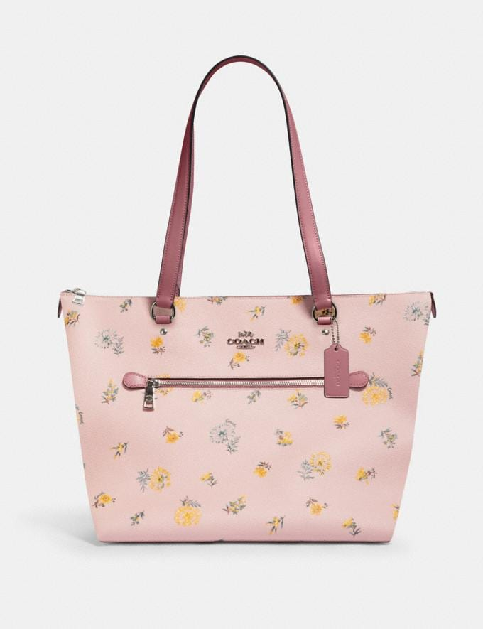 Coach Gallery Tote With Dandelion Floral Print Sv/Blossom Green Multi Members Only Members Only