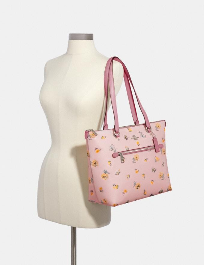 Coach Gallery Tote With Dandelion Floral Print Sv/Blossom Green Multi Members Only Members Only Alternate View 3