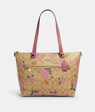 GALLERY TOTE IN SIGNATURE CANVAS WITH PRAIRIE ROSE PRINT