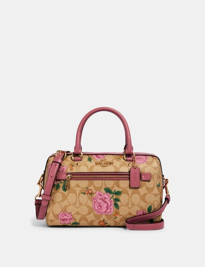 Coach Rowan Satchel in Signature Canvas With Prairie Rose Print Im/Light Khaki Pink Pink Multi