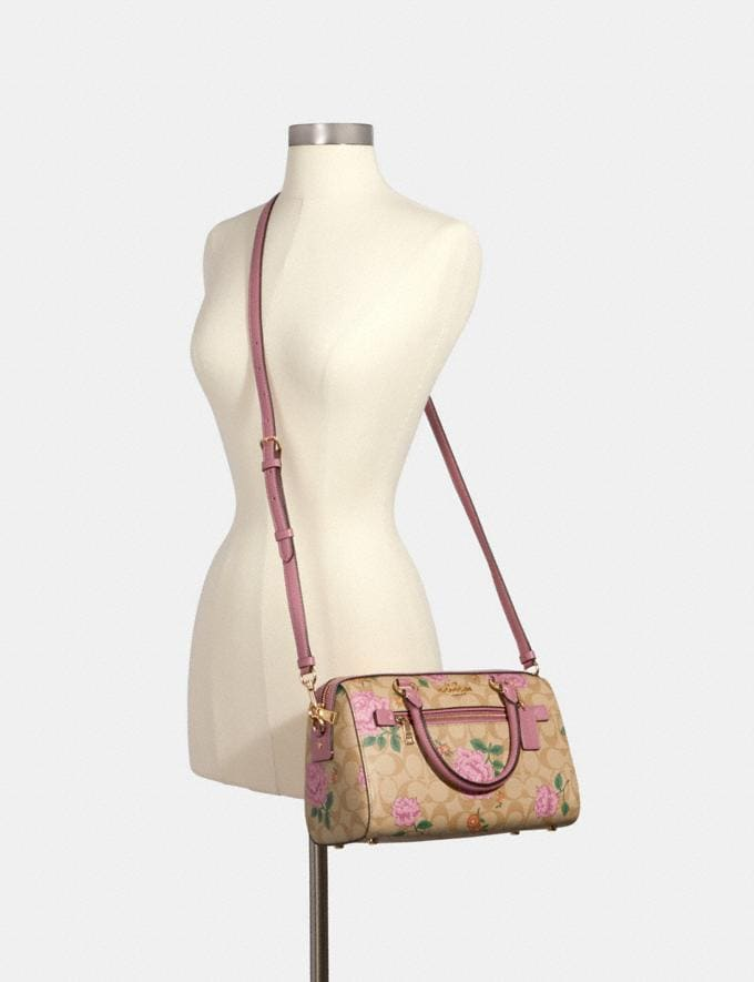 Coach Rowan Satchel in Signature Canvas With Prairie Rose Print Im/Light Khaki Pink Pink Multi  Alternate View 2
