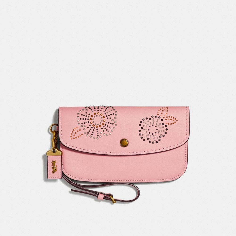 CLUTCH WITH TEA ROSE RIVETS