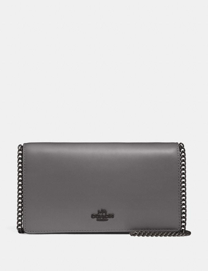 Coach Foldover Chain Clutch Heather Grey/Black Copper New Women's New Arrivals