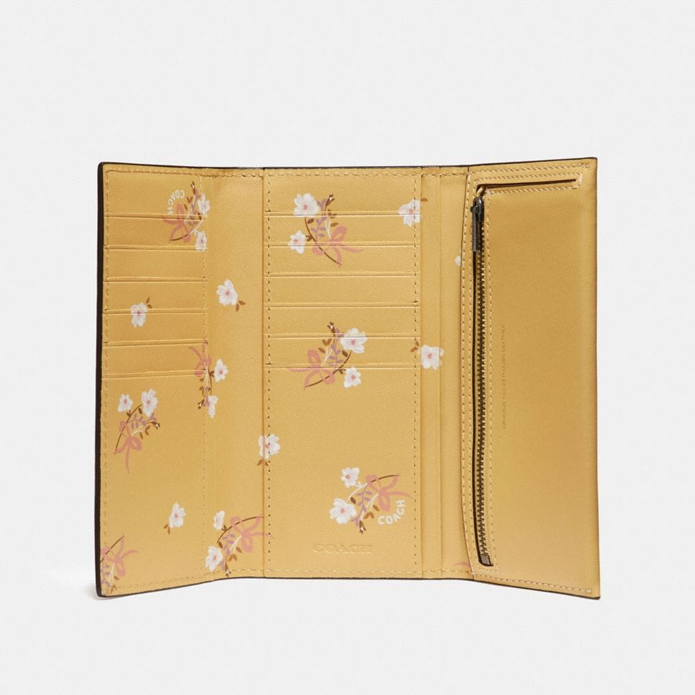 Coach Slim Trifold Wallet With Floral Bow Print Interior Alternate View 1
