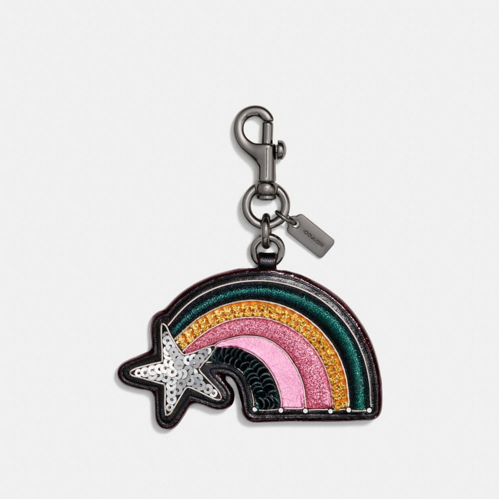 Coach Leather Sequin Heart Bag Charm Multi/black 2Ys7LGL2s