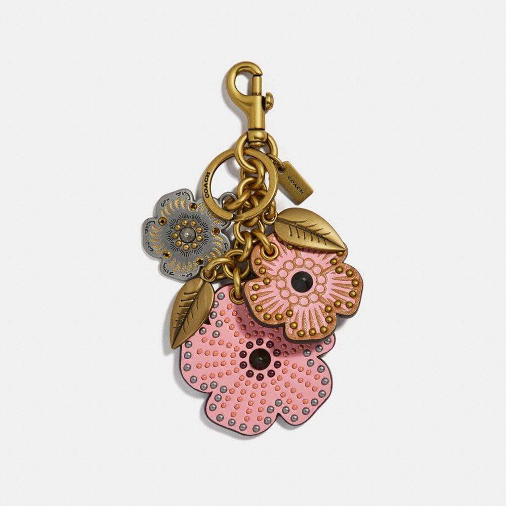 STUDDED TEA ROSE MIX BAG CHARM
