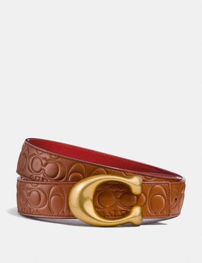 Coach Sculpted Signature Reversible Belt in Signature Leather 1941 Saddle/1941 Red/Brass Women Accessories Belts