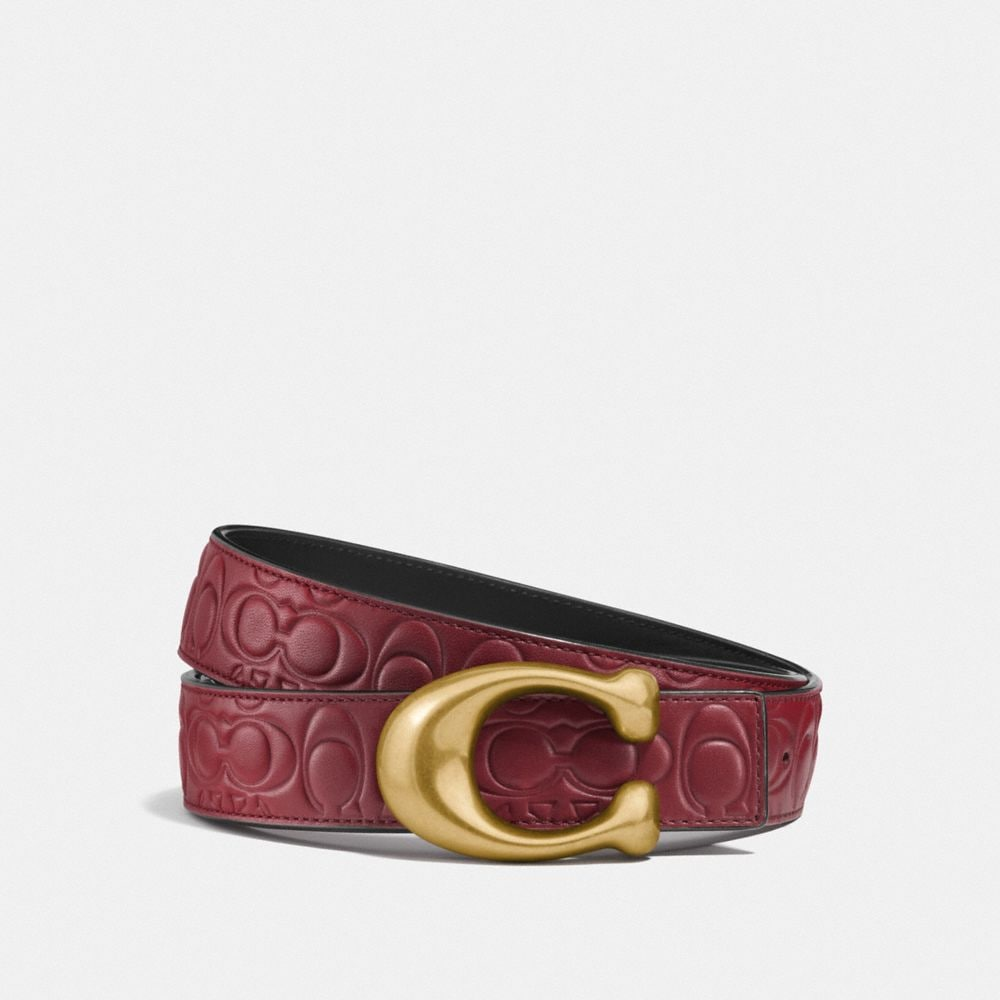 sculpted signature reversible belt in signature leather