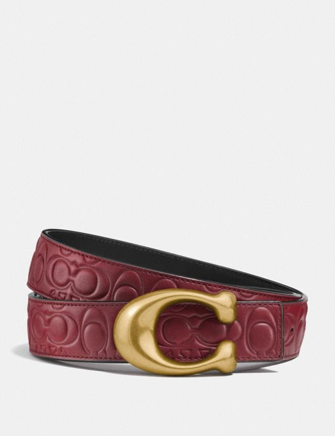 Coach Sculpted Signature Reversible Belt in Signature Leather Wine/Black/Brass