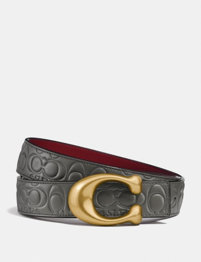 Coach Sculpted Signature Reversible Belt in Signature Leather Heather Grey/Wine/Brass