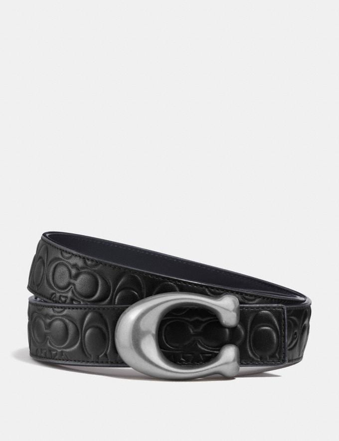 Coach Sculpted Signature Reversible Belt in Signature Leather Black/Navy/Nickel