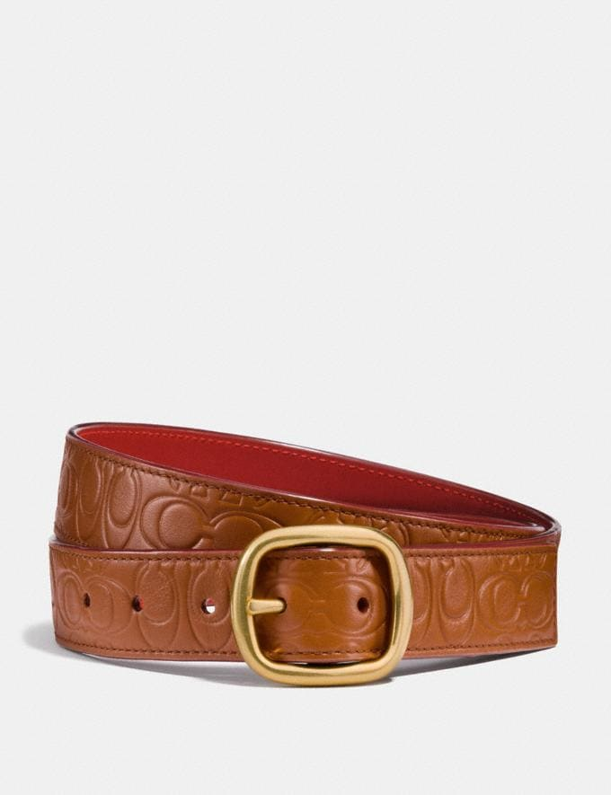 Coach Classic Reversible Belt in Signature Leather 1941 Saddle/1941 Red/Brass
