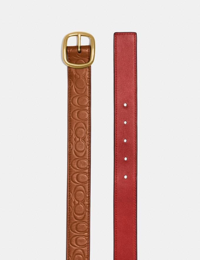 Coach Classic Reversible Belt in Signature Leather 1941 Saddle/1941 Red/Brass  Alternate View 1