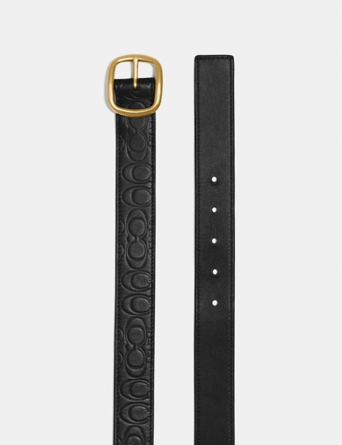 Coach Classic Reversible Belt in Signature Leather Black/Black/Brass CYBER MONDAY SALE Women's Sale Accessories Alternate View 1