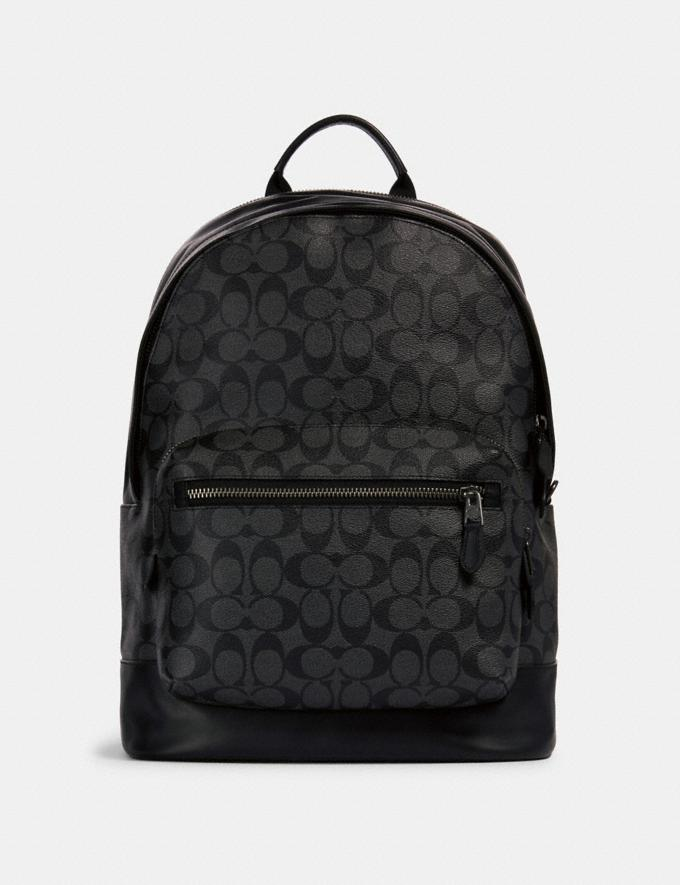 Coach West Backpack in Signature Canvas Qb/Charcoal Black