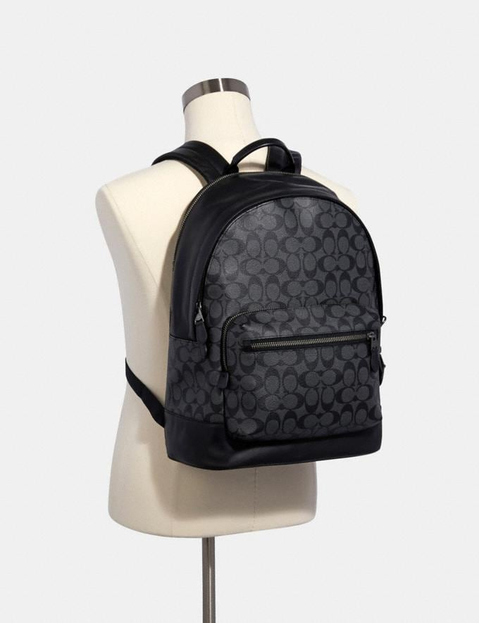 Coach West Backpack in Signature Canvas Qb/Charcoal Black  Alternate View 2