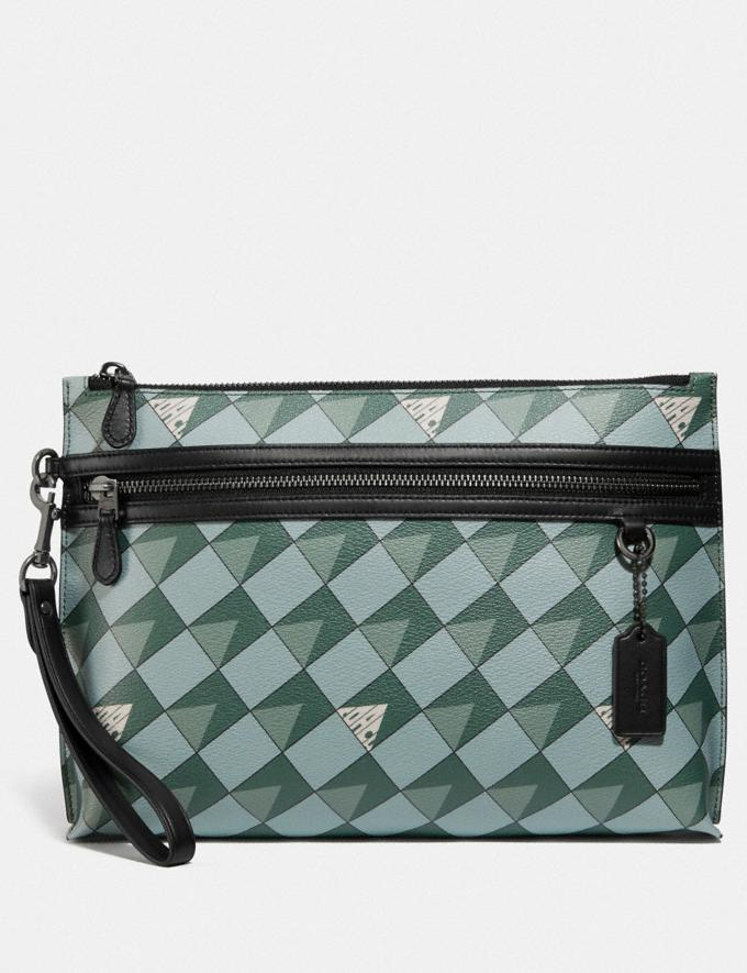 Coach Carryall Pouch With Check Geo Print Qb/Teal