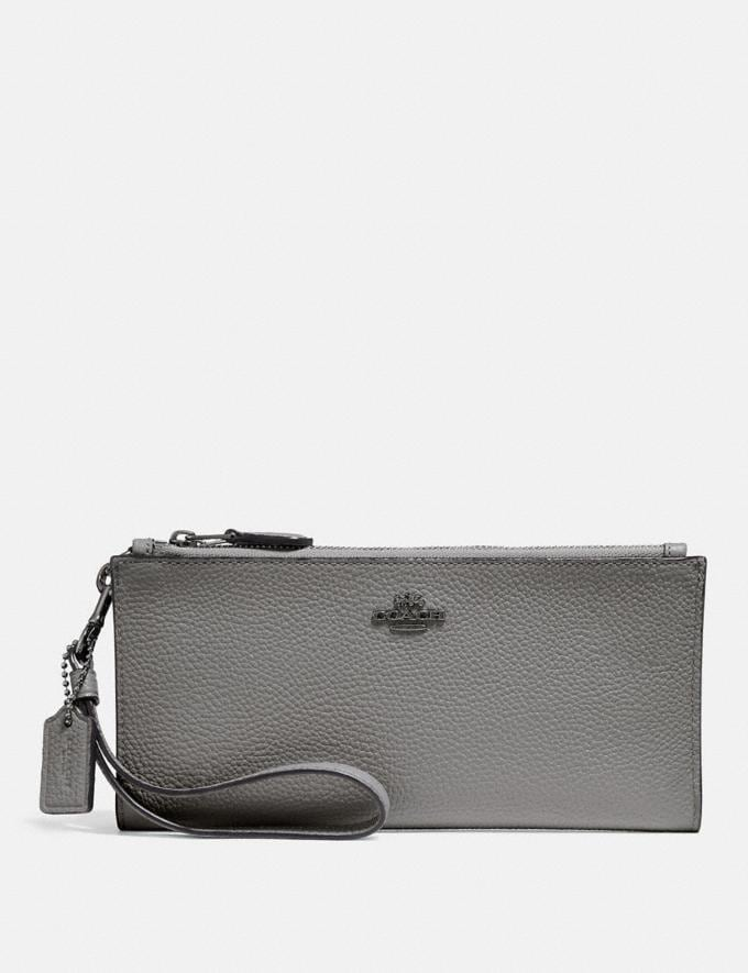 Coach Double Zip Wallet Heather Grey/Dark Gunmetal 30% off Select Full-Price Styles