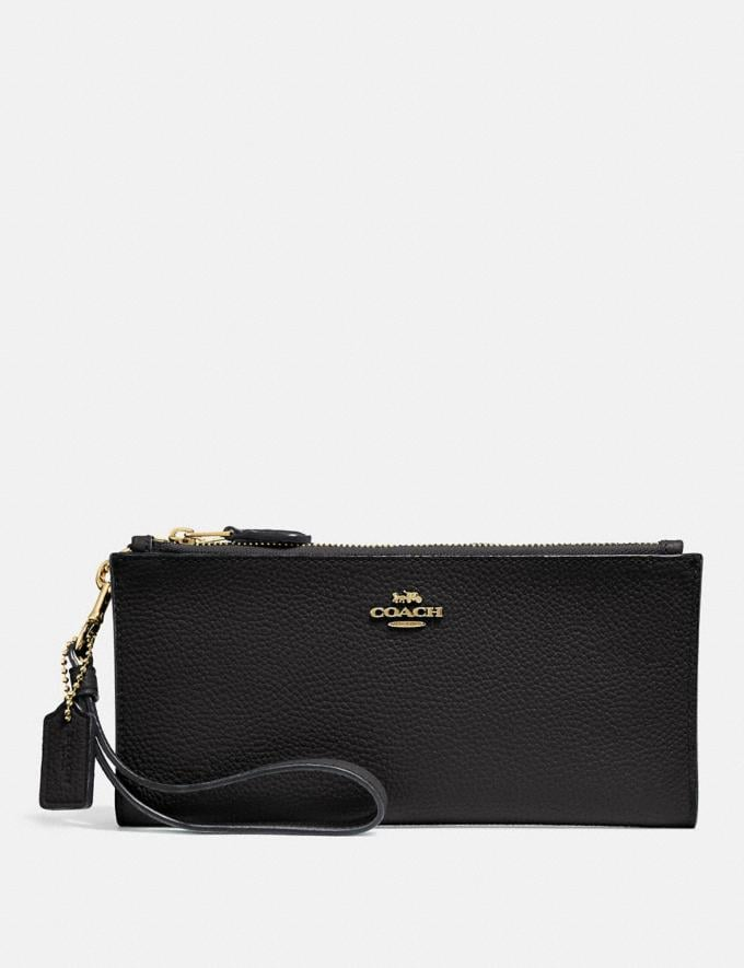 Coach Double Zip Wallet Black/Light Gold Customization For Her The Monogram Shop