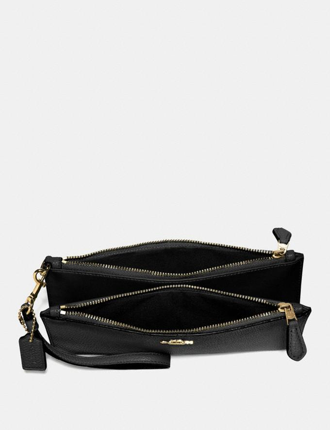 Coach Double Zip Wallet Black/Light Gold Customization For Her The Monogram Shop Alternate View 1