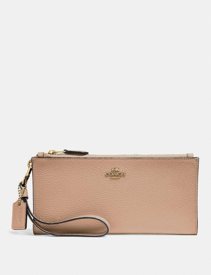 Coach Double Zip Wallet Beechwood/Light Gold Gifts For Her