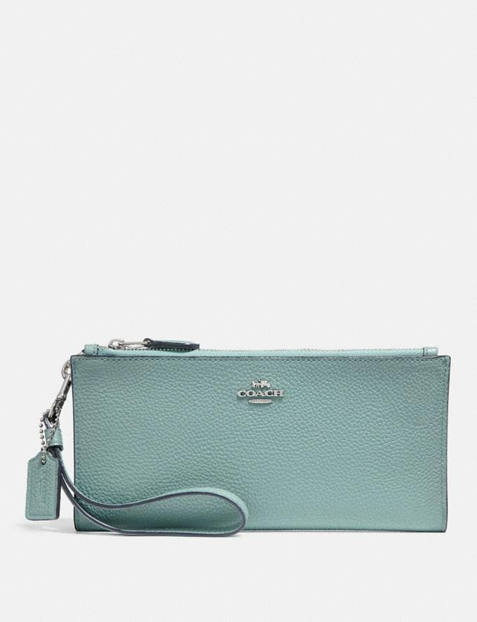 Coach Double Zip Wallet Sage/Silver SALE Women's Sale Wallets & Wristlets