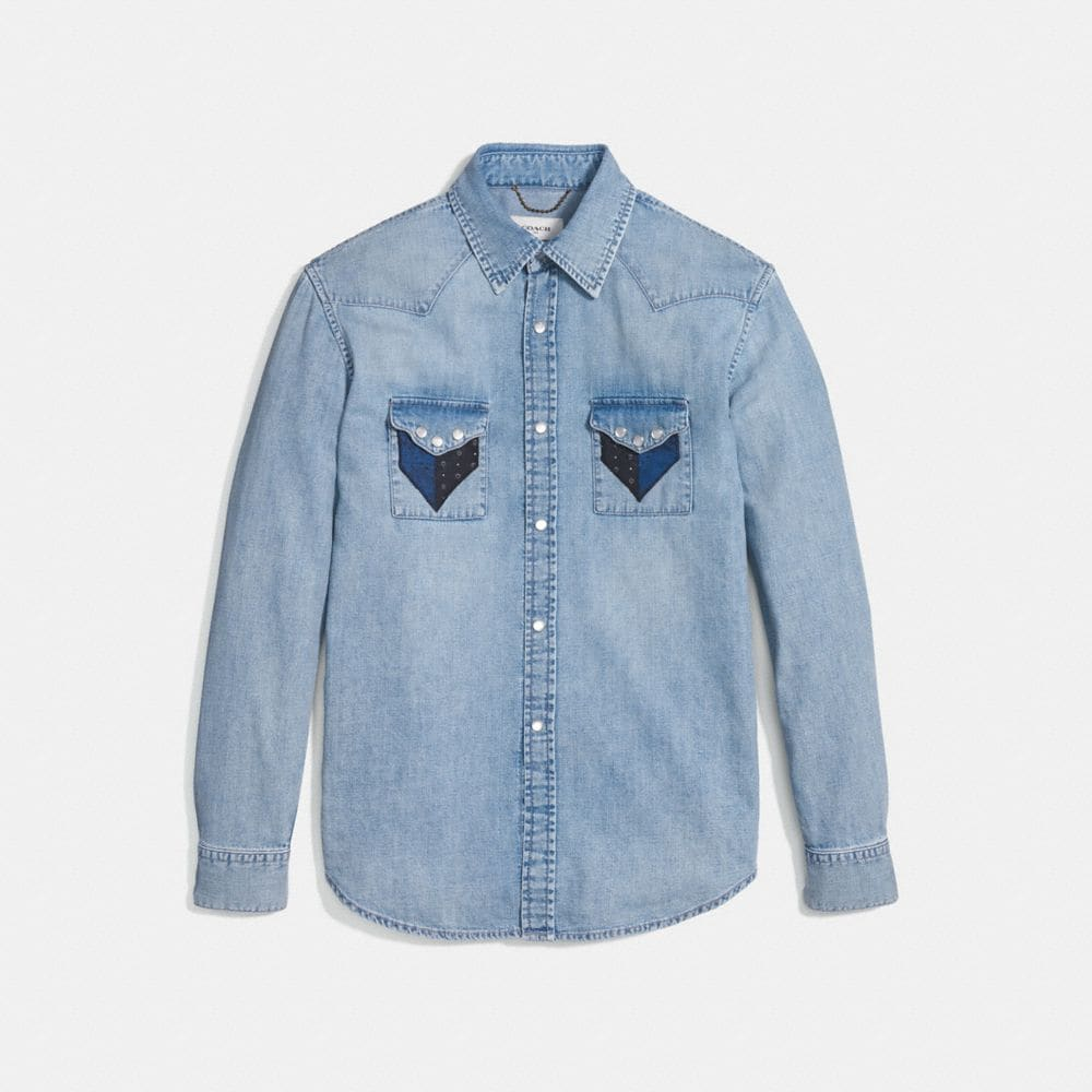 Coach Patchwork Denim Shirt Alternate View 1