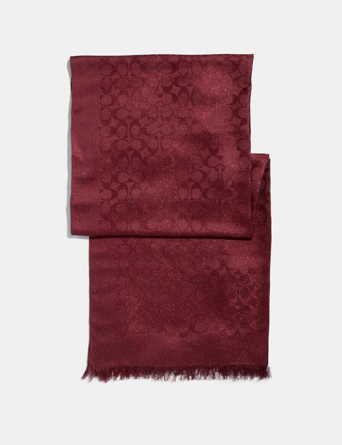 Coach Signature Metallic Stole Deep Red Women Accessories Scarves and Gloves