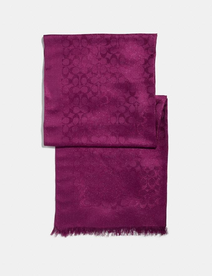 Coach Signature Metallic Stole Dark Berry