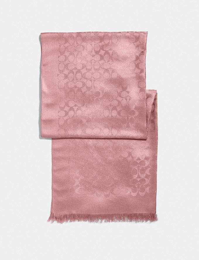 Coach Signature Metallic Stole True Pink Women Accessories Scarves
