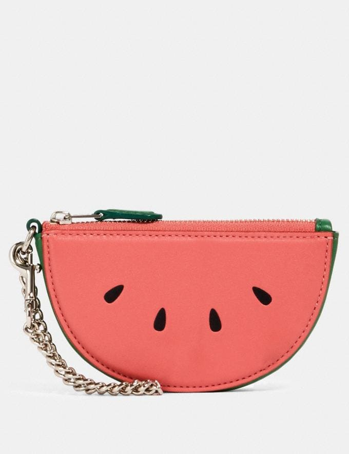 Coach Watermelon Slice Pouch Bag Charm Sv/Pink Lemonade