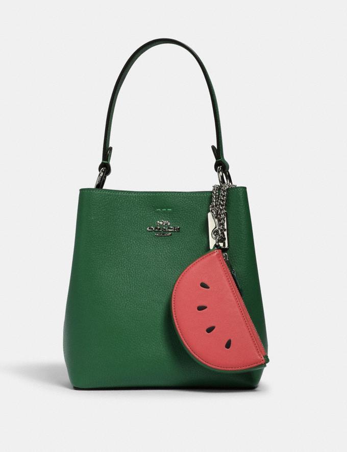 Coach Watermelon Slice Pouch Bag Charm Sv/Pink Lemonade  Alternate View 1
