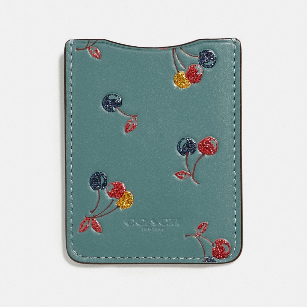 Coach Phone Pocket Sticker With Cherry Print