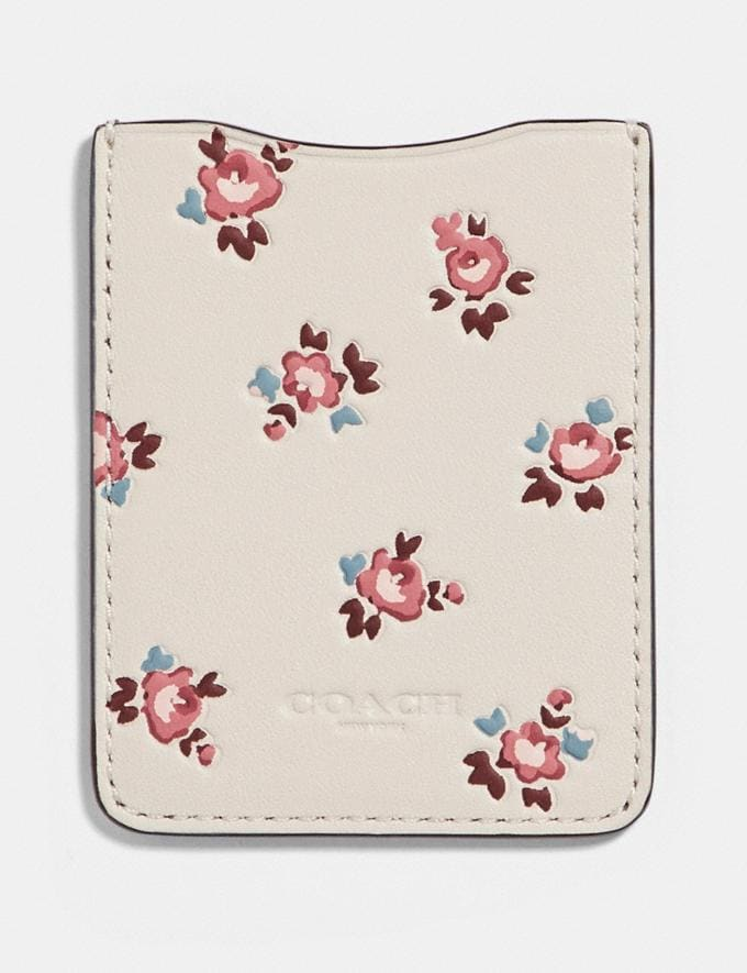 Coach Phone Pocket Sticker With Floral Bloom Print Chalk/Multi