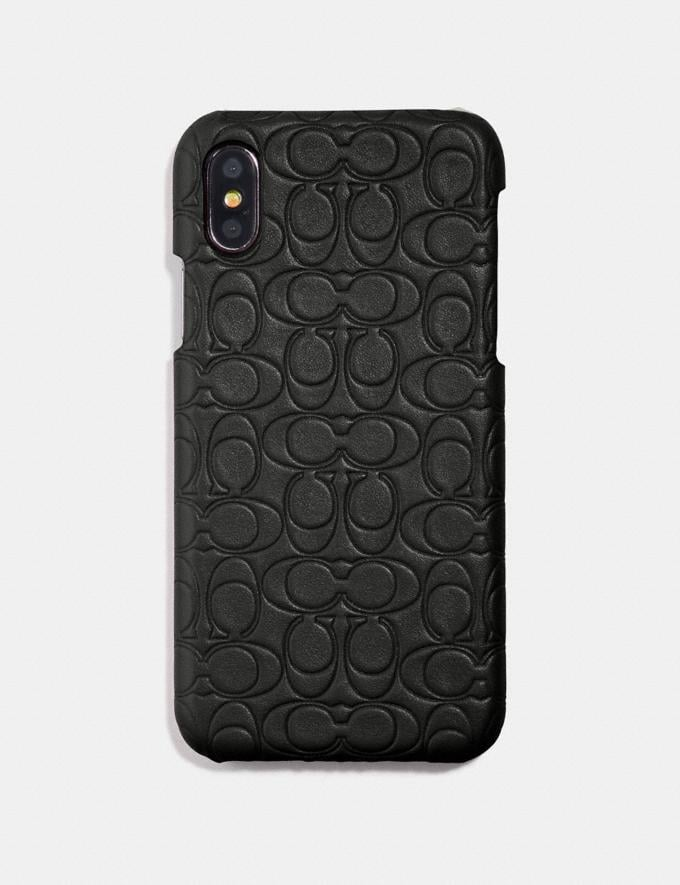 Coach iPhone 6s/7/8/X/Xs Case in Signature Leather Black VIP SALE Women's Sale Accessories Alternate View 1