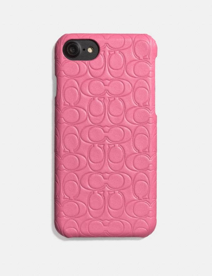 Coach iPhone 6s/7/8/X/Xs Case in Signature Leather Bright Pink