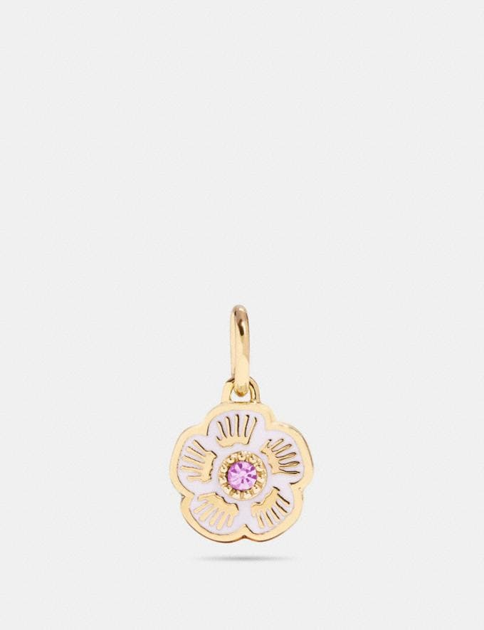 Coach Tea Rose Charm Ice Pink/Gold Women Accessories Jewellery Charms
