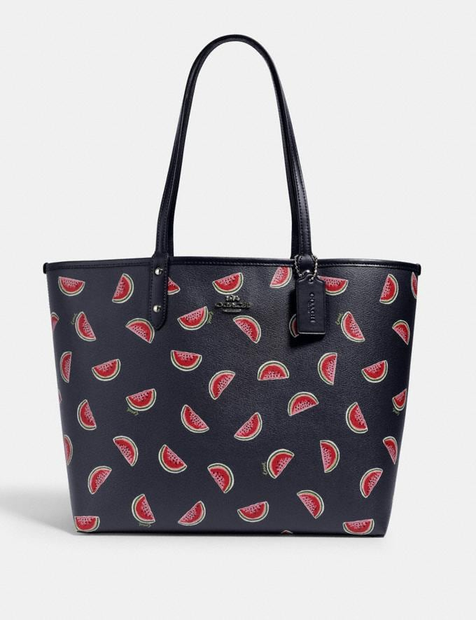 Coach Reversible City Tote With Watermelon Print Sv/Midnight Multi/Midnight What's New