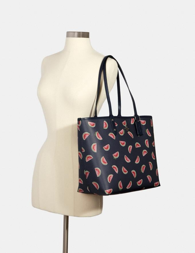 Coach Reversible City Tote With Watermelon Print Sv/Midnight Multi/Midnight What's New Alternate View 3