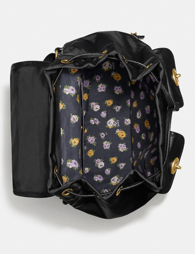 Coach Cargo Backpack With Vintage Rose Print Interior Brass/Black Women Bags Backpacks Alternate View 2