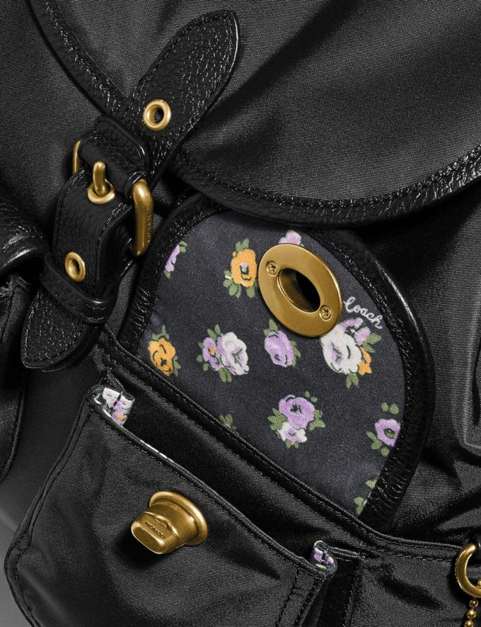 Coach Cargo Backpack With Vintage Rose Print Interior Brass/Black Women Bags Backpacks Alternate View 4