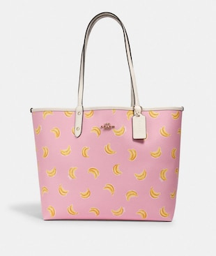 REVERSIBLE CITY TOTE WITH BANANA PRINT