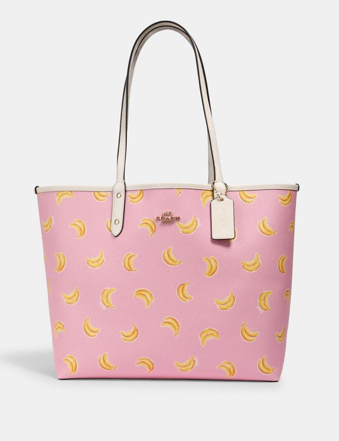 Coach Reversible City Tote With Banana Print Im/Pink Lemonade Multi/Wine What's New