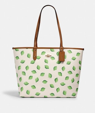 REVERSIBLE CITY TOTE WITH LIME PRINT