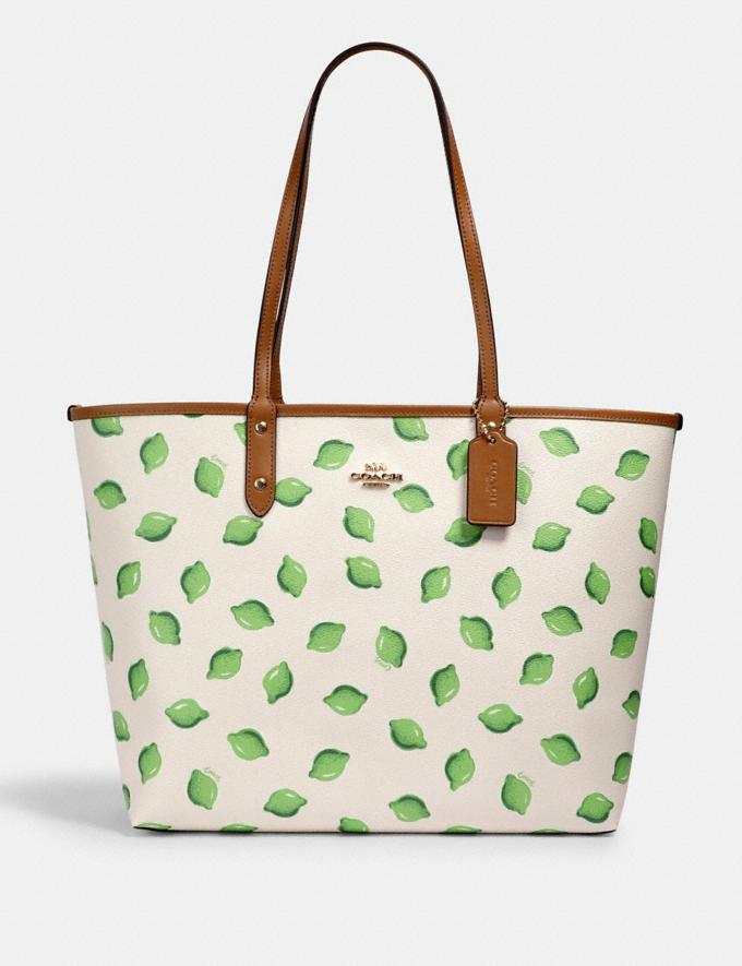 Coach Reversible City Tote With Lime Print Im/Chalk Green Multi/Lt Saddle
