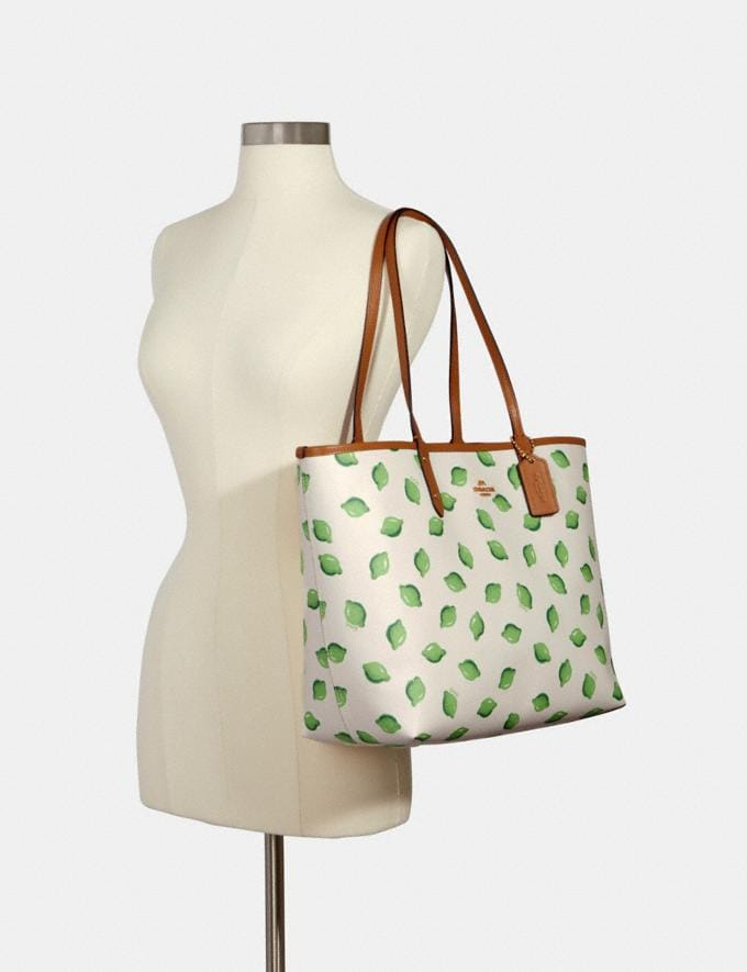 Coach Reversible City Tote With Lime Print Im/Chalk Green Multi/Lt Saddle  Alternate View 3