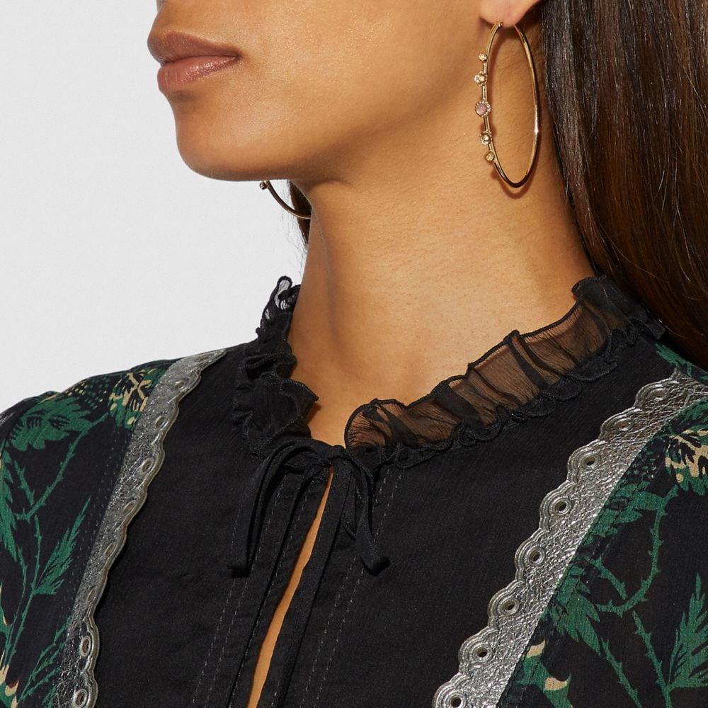 Coach Demi-Fine Sunburst Hoop Earrings Alternate View 1