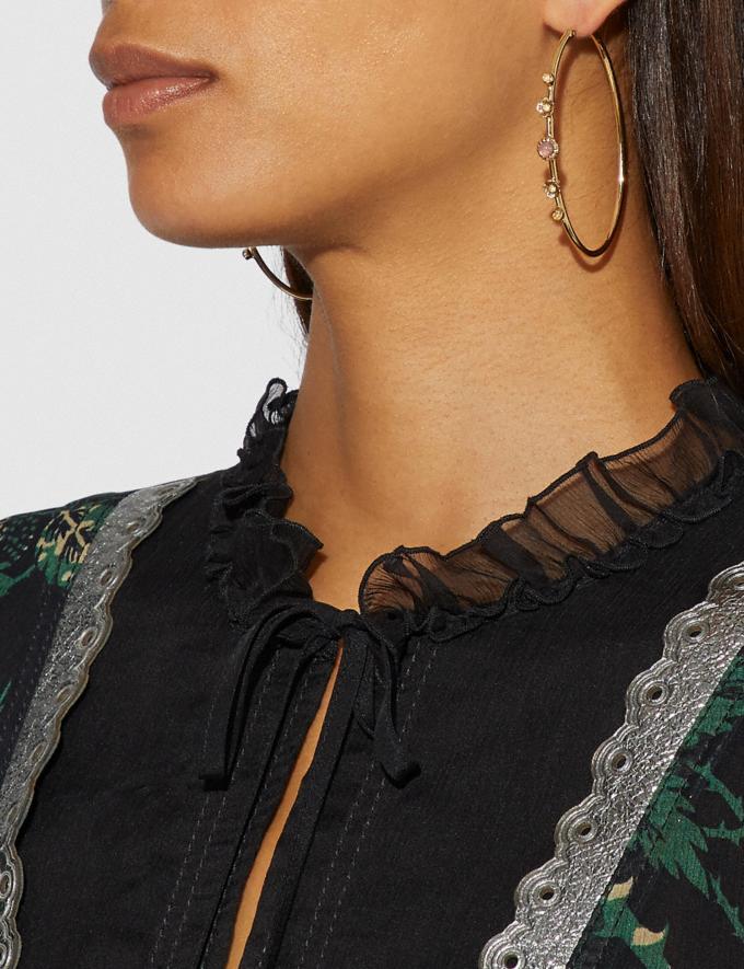 Coach Demi-Fine Sunburst Hoop Earrings Grey/Rose Gold Women Accessories Jewelry Alternate View 1