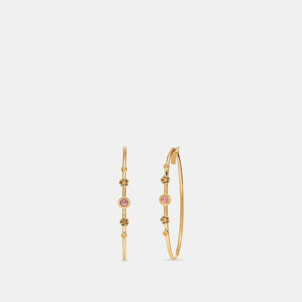 Coach Demi-Fine Sunburst Hoop Earrings
